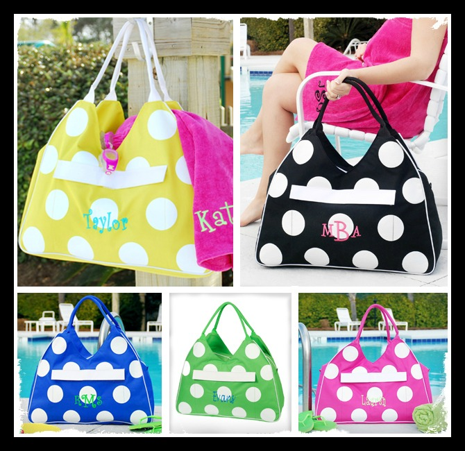 1003 Personalized Large Polka Dot Tote