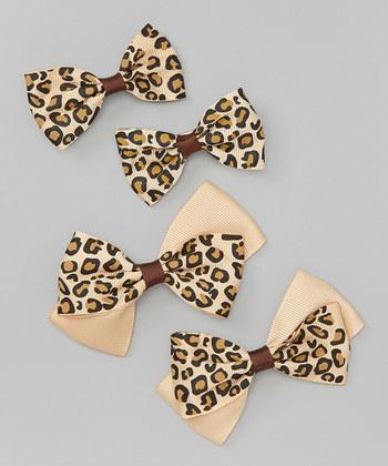 Leopard Bow Clip Set - Beige