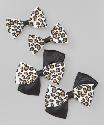 Leopard Bow Clip Set - Black