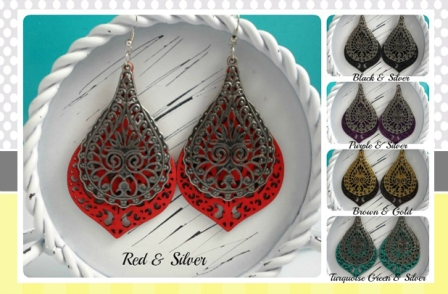 1026 - Unique Filigree Wood Earrings, Limited Qty!!!!
