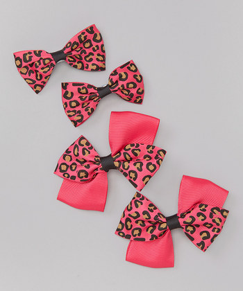 Leopard Bow Clip Set - Hot Pink