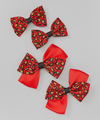 Leopard Bow Clip Set - Red