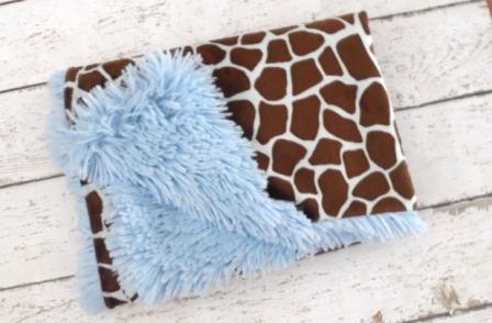 Luxe Blue Giraffe Minky Blanket