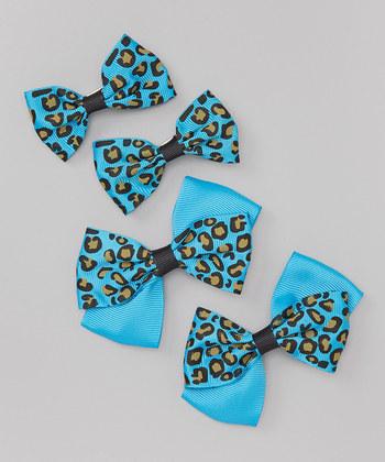 Leopard Bow Clip Set - Turquoise