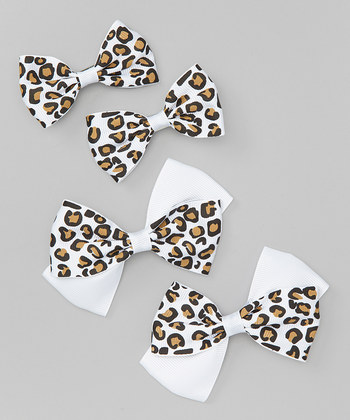 Leopard Bow Clip Set - White